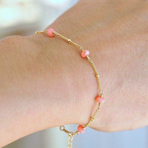 Pink Coral Bracelet, March Birthstone Bracelet, Bridesmaid Gift Set, Delicate Gold Bracelet, Pink Coral beaded (14k Coral Bracelet)