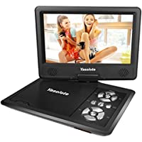 Yasolote 9 Portable DVD Player for Kids for Car with Swivel Screen,5 hours Rechargeable Battery,with Car Charger/AC Adpater,USB/SD Card Slot(Black)