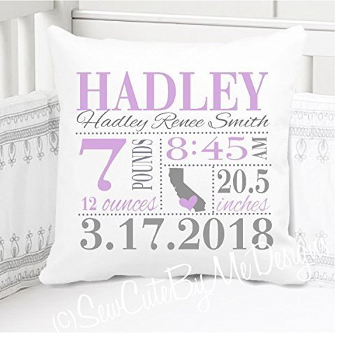 Birth Announcement Pillow for Baby Girls Nursery with Birth City and State - Includes Personalized Pillowcase and Pillow Insert - Lavender and Grey 14