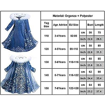 Kicpot Girls Elsa Snow Costume Dress Princess Dress Crown Adventure Costume: Clothing