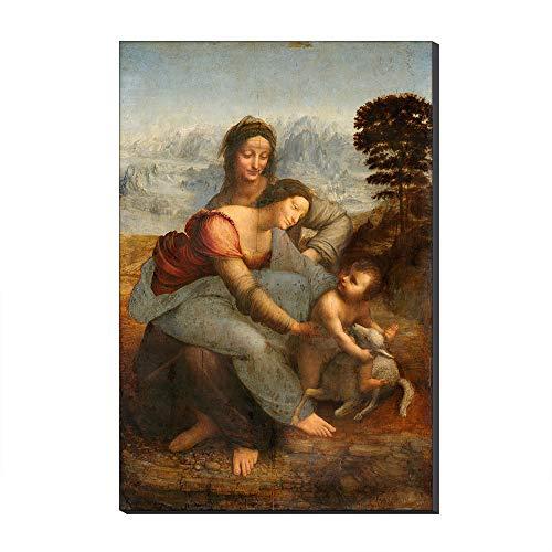 Five-Seller La Virgen Y El Nino con Santa Ana por Leonardo Da Vinci Lienzo Cuadros Famosos Reproduccion De Arte Impreso En Lienzo Arte De Pared Arte para Decoraciones para El Hogar (50_x_70_cm)
