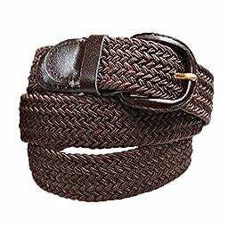 Luxury Divas Brown Braided Elastic Stretch Belt Size Large