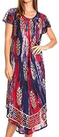 Sakkas 17810 - Ginette Marble Dye Short Sleeve Long Dress with Crochet Lace - Purple/red - OS - Together Short Sleeve Dress