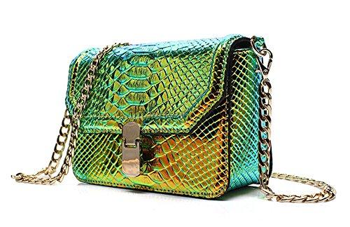 (Holographic Snakeskin Crossbody Bag Shoulder Bag Women's Hologram Leather Purse (L Green))