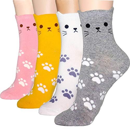 DearMy Womens Cute Design Casual Cotton Crew Socks | Good for Gift Idea| One Size Fits All (Cat Ear 4 Pairs)