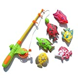 Nurbo Baby Girl Boy Kids Rod and Reel Fishing Bath Toy Set Magnetic Fishing Playset with 7 Fishes and 1 Pole