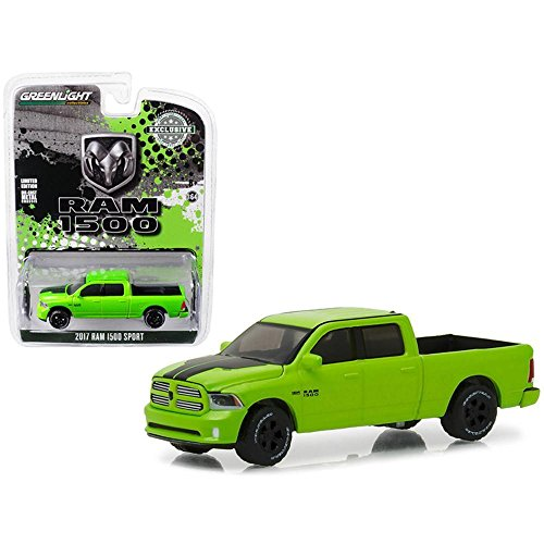 (Greenlight Collectibles  29927 2017 Dodge Ram 1500 Sport Sublime Green Pearl Coat 1:64 Scale Special Edition Hobby)