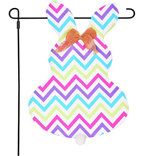 Zhanmai Easter Garden Flag Bunny Shape Flag Double Sided Yard Flag Banner Decoration for Outdoor Supplies (Yards Banner Flag)