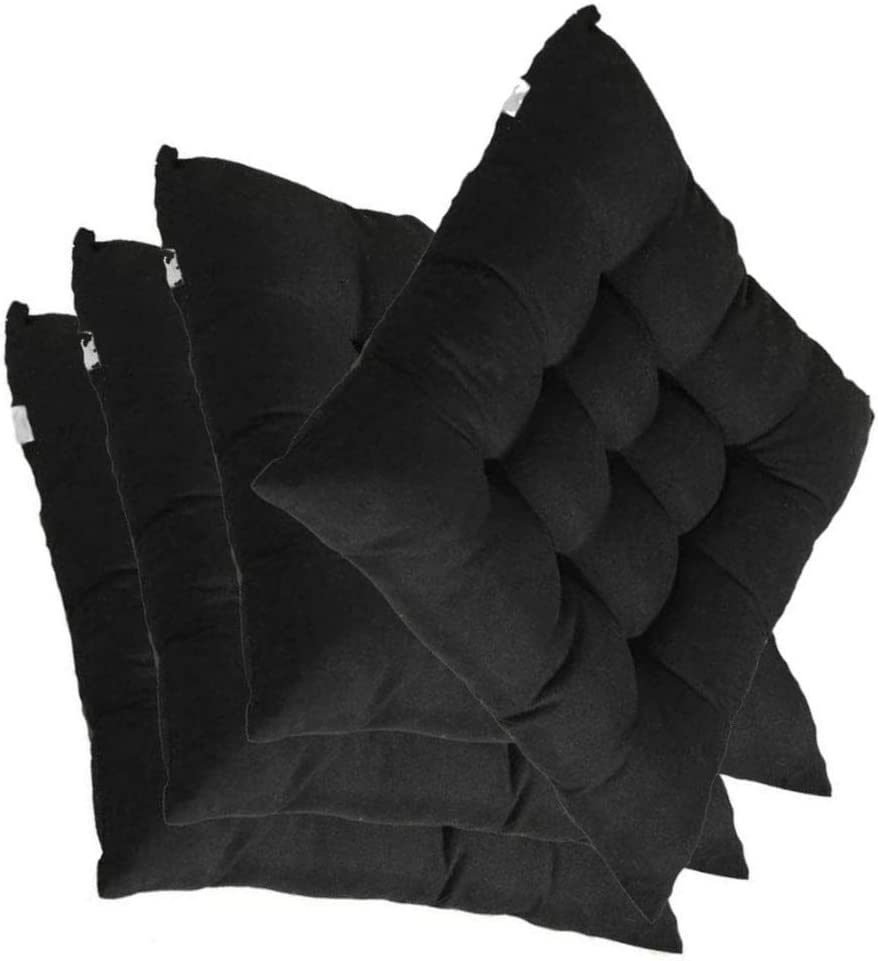 4 in 1 Pack Solid Color Cushion Chair Seat Pads with Ties,for Garden Patio Kitchen Dining,40x40x5 cm,Black Super Soft Durable Seat Cushion