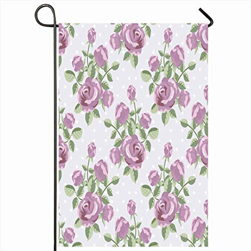 Ahawoso Outdoor Garden Flag 12x18 Inches Vintage Bloom Rose Blossom Violet Dot Floral Flower Nature Design Two Sides Seasonal Home Decor House Yard Sign Banner ()