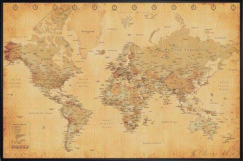Close Up Weltkarte Poster Worldmap Vintage Style 62x93 Cm