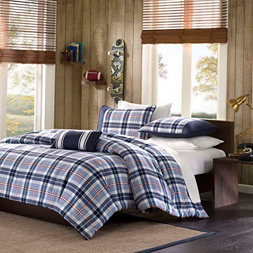 Kaputar Modern Cozy Blue RED Navy Stripe Boys Sport Plaid Comforter Set Pillow | Model CMFRTRSTS - 3291 | Twin Extra Long