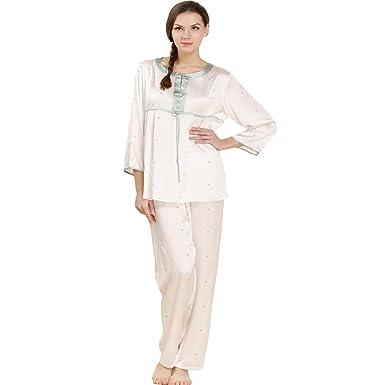 b13c380ebe Sleepwear Forever Angel Women s Pure Silk Pajamas Luxury PJs Gift Light  Bule S