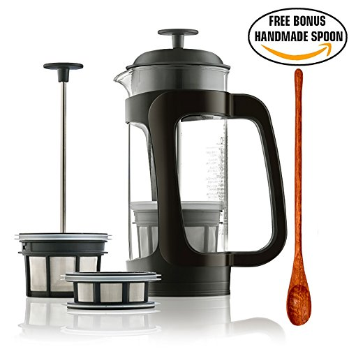 Espro P3 - French Press Coffee Maker with Thick & Durable SCHOTT Duran glass + Bonus Wooden Stirring Spoon (with Coffee Filter, 18 oz) (Espro French Coffee Maker 18 Oz compare prices)