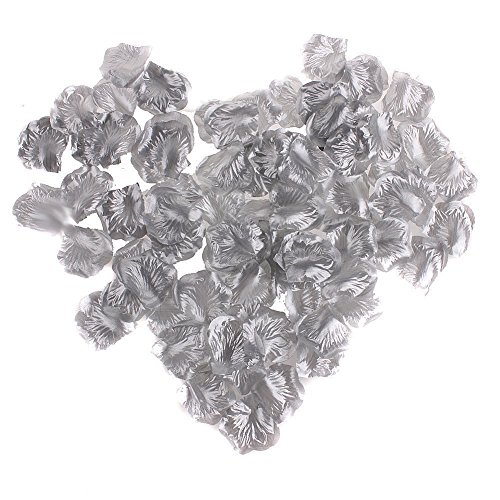 EMAXELER [Broken Girls Flowers]1000pcs Silver Silk Rose Flower Petals for Wedding Table Confetti Bridal Party Flower Girl Decoration 1000pcs Silver
