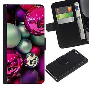 WINCASE Cuadro Funda Voltear Cuero Ranura Tarjetas TPU Carcasas Protectora Cover Case Para Apple Iphone 5 / 5S - bulbos de color rosa púrpura decoraciones trullo