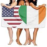 Unisex Ireland USA Flag Twin Heart Over-Sized Cotton Bath Beach Travel Towels 31x51 Inch
