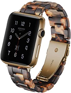 KWANITHINK Watch Band Compatible with Apple Watch 42mm/44mm, Lightweight Resin Watch Strap Replacement for iWatch Series 5/4/3/2/1, Hermes, Nike+, Edition, Sport (Tortoise-Tone)
