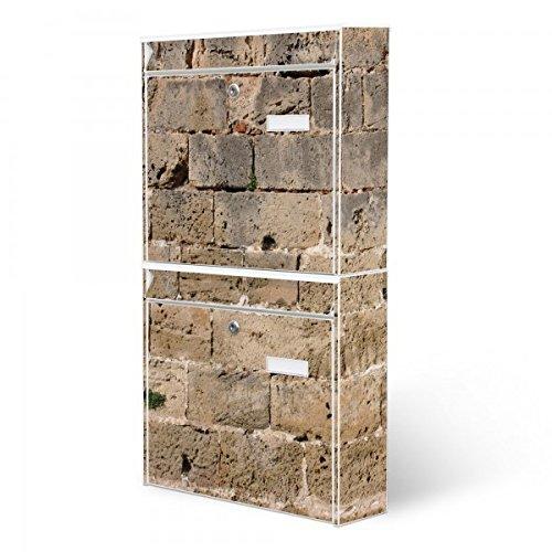Burg-Wächter Briefkastenanlage, Design Foto Postkasten, Stahlblech weiß, MAIL 5877 W 36x64x10cm mit Motiv Steinwand Antik
