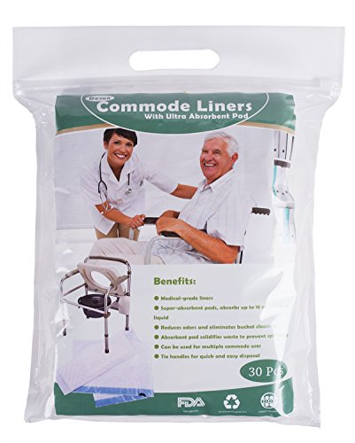 Commode Liners with Super Absorbent Pads, Disposable Commode Liners Pail Bags for Adult Commode Chair Bucket or Bedside Toilet Liners,Universal fit (Pack of 30) by Alsunny (Image #5)