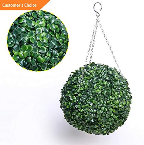 (Hebel US Artificial Grass Ball Plant Topiary Hanging Garland Home Wedding Party Decor | Model DCRTVBLL - 138 | 25cm)