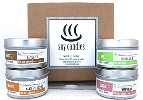Best Selling 100% Scented Soy Tin Candle 4-Pack ('Smoothie' - Mango & Tangerine, 'Cake' - Vanilla Sugar, 'Sunset' - Warm Amber, 'Barista' Caffe Latte Coffee) HANDMADE IN THE U.S.A.
