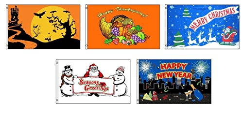 3×5 Seasonal Holiday 5 Flag Bundle Wholesale Set 3'x5′