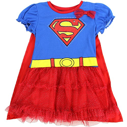 [SUPERGIRL Toddler Girls Tutu Dress With Cape In Red/Blue Sizes: 2T-4T (2T)] (Toddler Supergirl Costumes)