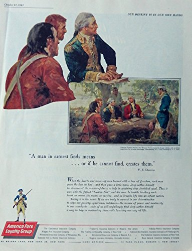 America Fore Loyalty Group 60's Print ad. Color Illustration. Scarce old ad. (General Francis Marion,the swamp fox, painting by F.C. Yohn) Original 1961 the Saturday Evening Post Magazine Art - Marion Painting