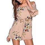 Hibluco Women's Sexy Off Shoulder Romper Flare Sleeve Floral Short Jumpsuit (Medium, Khaki)