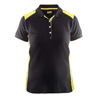 Polo para mujer, color negro y amarillo, talla S: Amazon.es ...