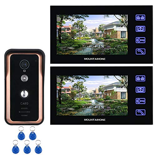 LGFA 7 inch Color 2 Monitor Video doorbell 1000TVL Infrared Camera Door Phone Doorbell Intercom Kit Night Vision Waterproof with RFID Card ()