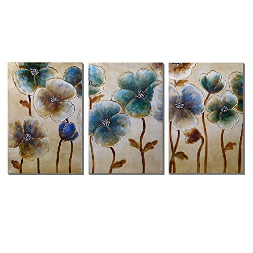 3Hdeko-Floral Artwork For Wall 3 Panel Canvas Wall Art Contemporary blue and Golden flower painting,Ready To Hang (20x30inch x3 pcs) - 3 Floral Art
