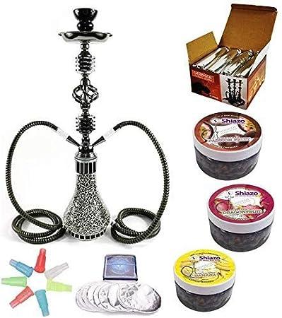 Kertou Shisha 55 cm 2 Manguera Hookah Cachimba Narguile agua tubo vidrio fumar con 3x100gr. piedras,carbón,papel de estaño,boquillas