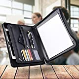 Padfolio with Zipper Zippered Padfolio Leather Legal Pad Portfolio Professional Interview Tablet Case Black Credit Business Card Phone Pockets Document A4 Includes Notepad Leatherette