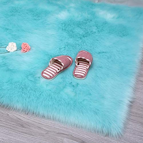 YOH Soft Faux Sheepskin Area Rug Fluffy Shag Rug for Bedroom Kids Room Living Room Carpet Shag Furry Fur Rug Bedroom for Boys Girls Dorm Room Modern Plush Decorative 3 x 5 Feet, Light Blue