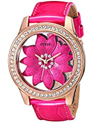 GUESS Womens U0534L3 Pink Floral Watch with Rose Gold-Tone Case & Genuine Patent Leather Strap