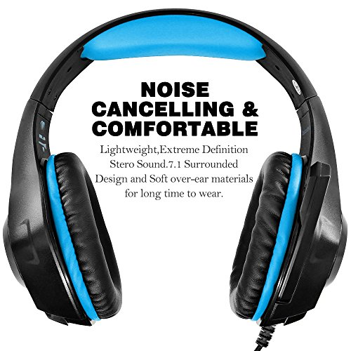 51BO5NSwPAL - GM-1 Gaming Headset for New Xbox One PS4 PC Tablet Cellphone, Stereo LED Backlit Headphone with Mic by AFUNTA