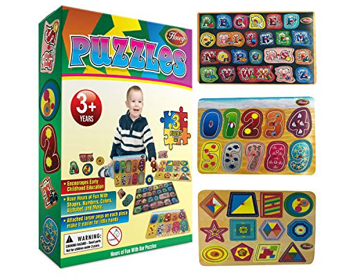 (Hoovy Premium Baby Peg Puzzle 3-in-1 Set 3 Different Themed Educational Knob Puzzles for Boy & Girl Toddlers Bonus: Storage Rack (Alphabet, Numbers, Shapes))