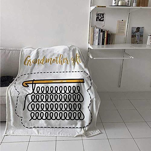 - maisi Grandma Digital Printing Blanket Knitting Design and Hand Lettering Illustration with Vintage Inspirations Summer Quilt Comforter 62x60 Inch Marigold Black White
