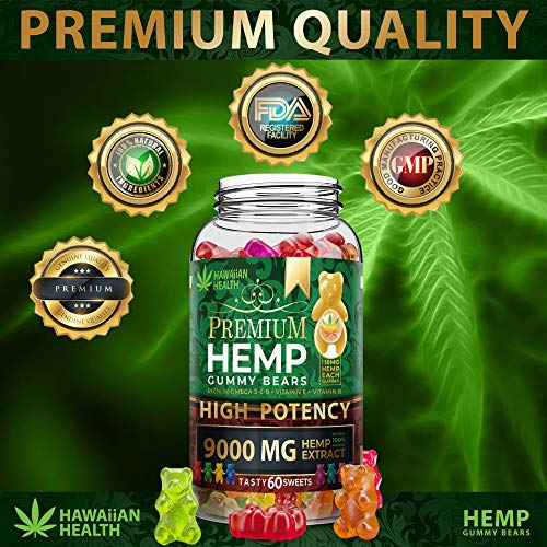 51BO5XFb0KL - Hemp Gummies Premium 9000MG High Potency - 150 Per Fruity Gummy Bear with Hemp Oil | Natural Hemp Candy Supplements for Pain, Anxiety, Stress & Inflammation Relief | Promotes Sleep & Calm Mood