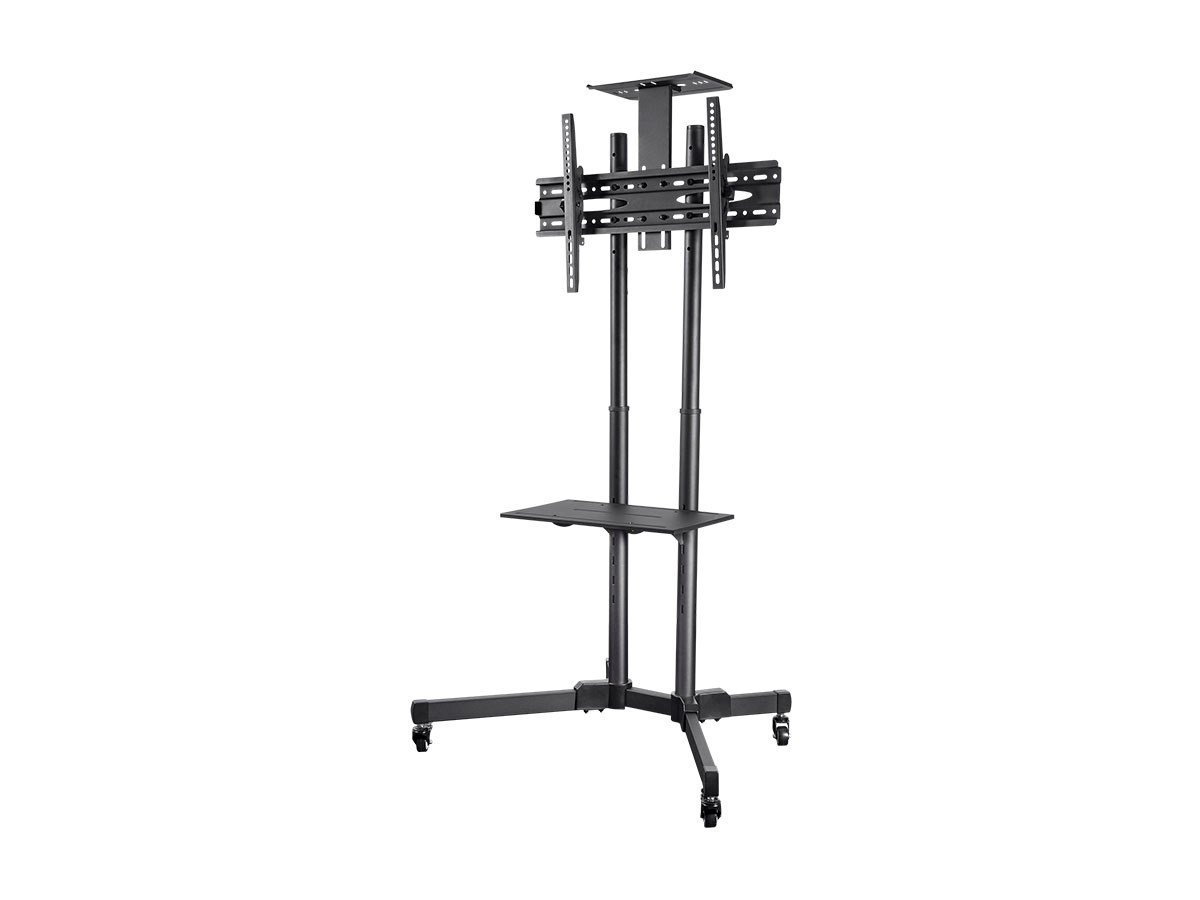 Monoprice Select Series Tilt TV Wall Mount Bracket Stand Cart with Media Shelf - for TVs 32in to 70in Max Weight 110lbs VESA Patterns up to 600x400 Height Adjustable UL Certified