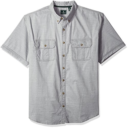 G.H. Bass & Co. Men's Size Big Short Sleeve Solid Pigment Dyed Shirt, Rich Silver Fringe, Large - Tall Fringe