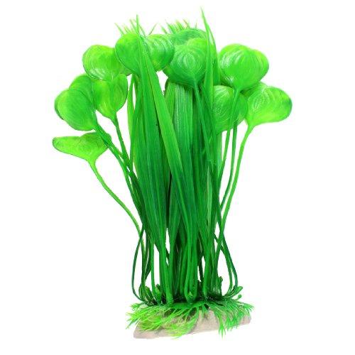 Uxcell Uncell Shell Shaped Aquarium Artificial Leaf Aquatic Grass Plant Ornament, Green