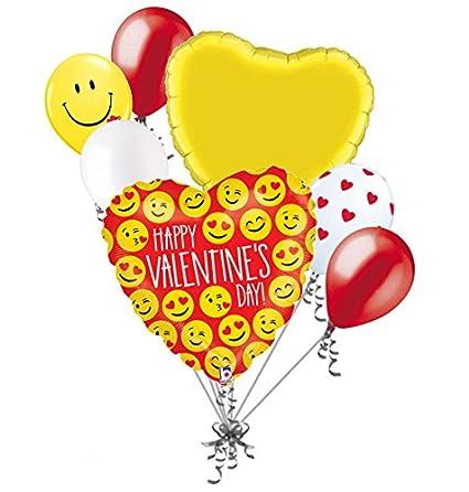 Amazon Com Jeckaroonie Balloons 7 Pc Emoji Happy Valentines Day