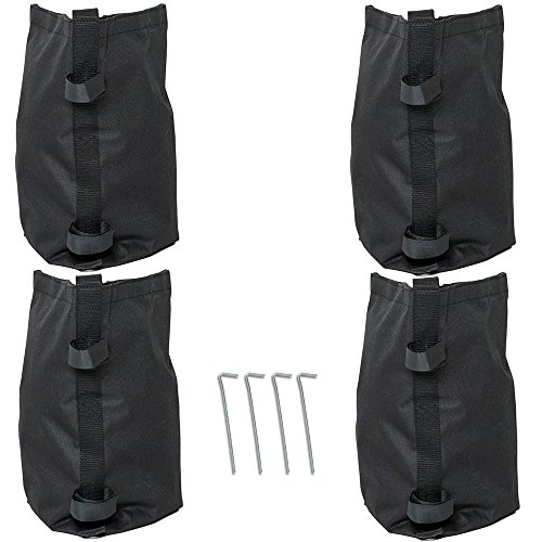Punchau Pop Up Canopy Weights - Set of 4 Weight Bags, Includes 4 Stakes - Waterproof Leg Weights for Canopy Shade Tents