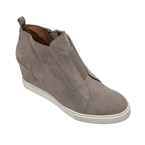Linea Paolo Felicia | Platform Wedge Bootie Sneaker Rock Perforated Suede 6.5M (Side Zip Stretch Platforms)