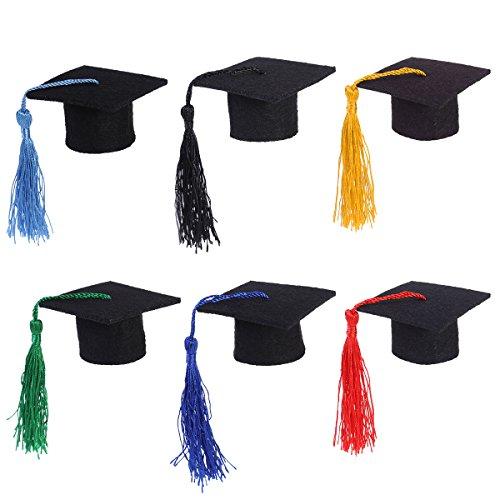 LUOEM 6pcs Mini Graduation Caps Graduation Cap Bottle Toppers Doctorial Graduation Hat Shaped Party Decorations (Assorted Colors)