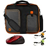 ORANGE TRIM BLACK Pindar Durable Water-Resistant Nylon Protective Carrying Case Messenger Shoulder Bag For Acer Aspire TimelineX 14 inch Notebook Laptop Computer + Green Cable Organizer + Yellow Cable Organizer + Red Wireless Laser 2.4Ghz Mouse w/ BACK and FORWARD Buttons
