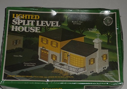 Bachmann HO Scale Lighted Split Level House Building and Landscaping Kit